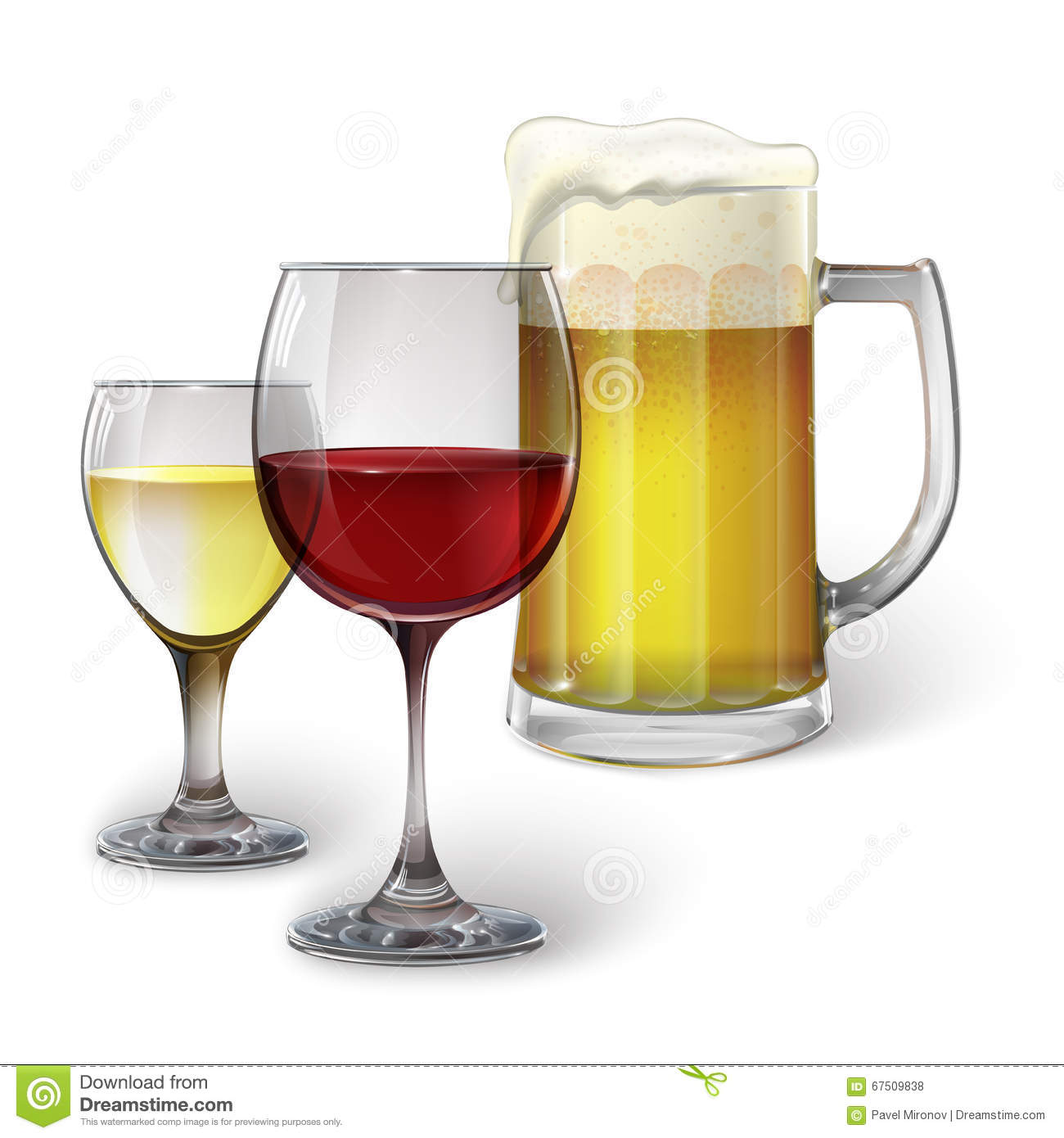 Cocktail Glass, Wine Glass, Mug With Beer Stock Vector ...