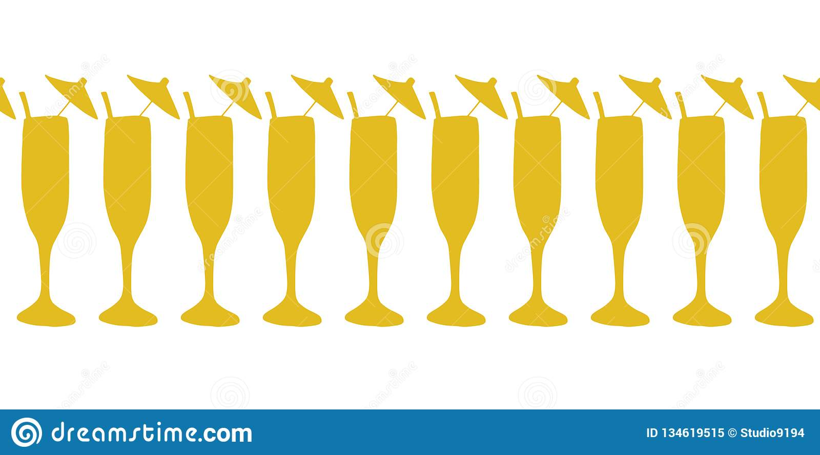 Cocktail glasses gold on white seamless vector border. Drinking glasses, champagne, cocktail flutes. Use for celebrations,
