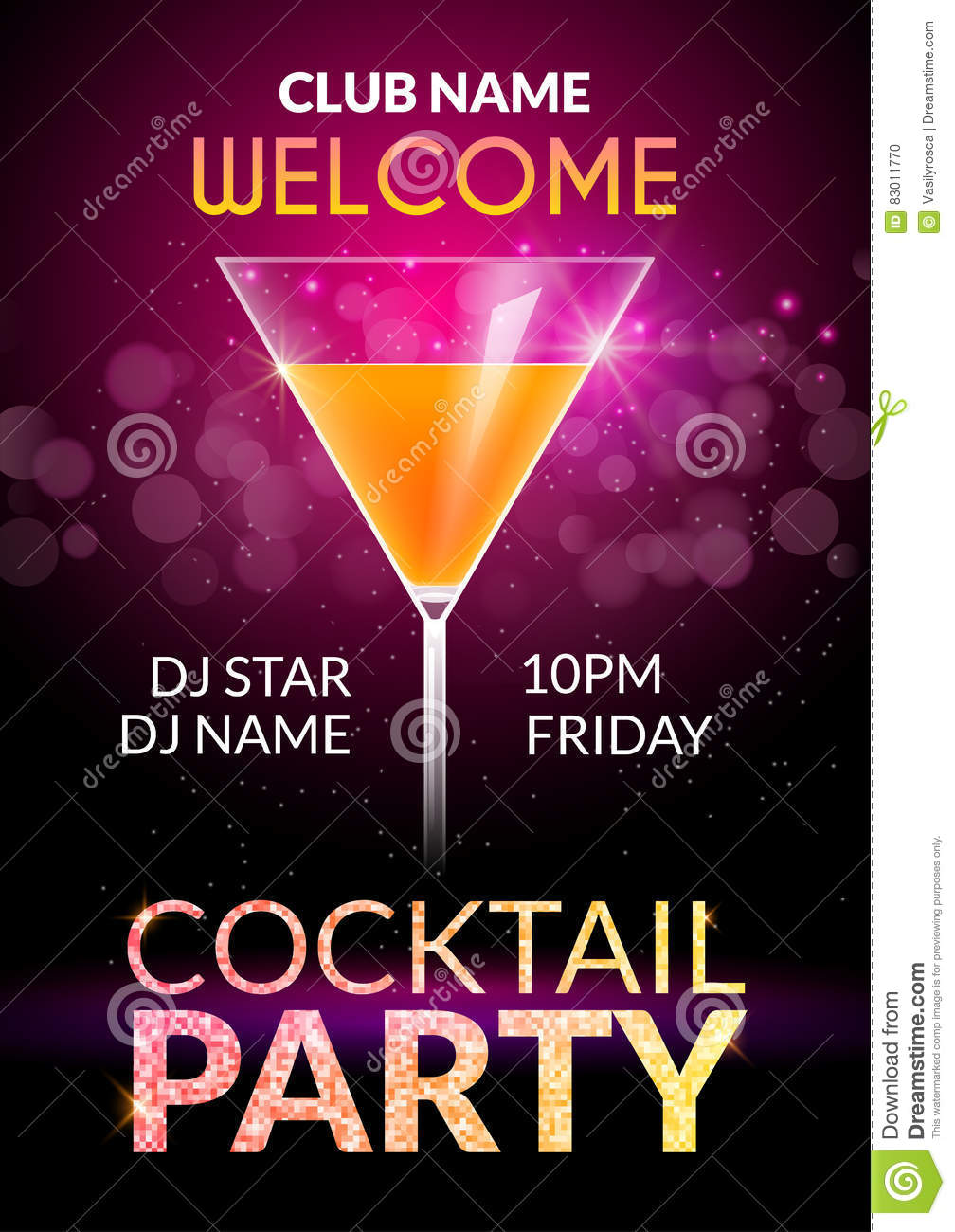 cocktail invitation design poster cocktail party drink banner card or flyer template vector. Black Bedroom Furniture Sets. Home Design Ideas