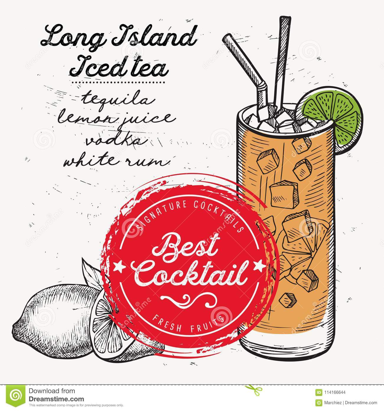 Cocktail Long Island, Drink Flyer For Bar. Stock Vector