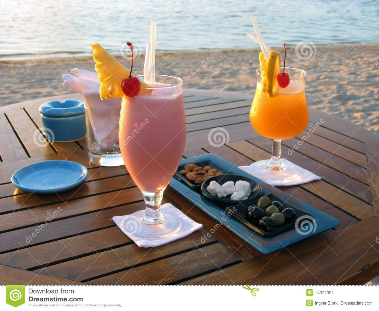Cocktail for lovers by the beach in Mauritius