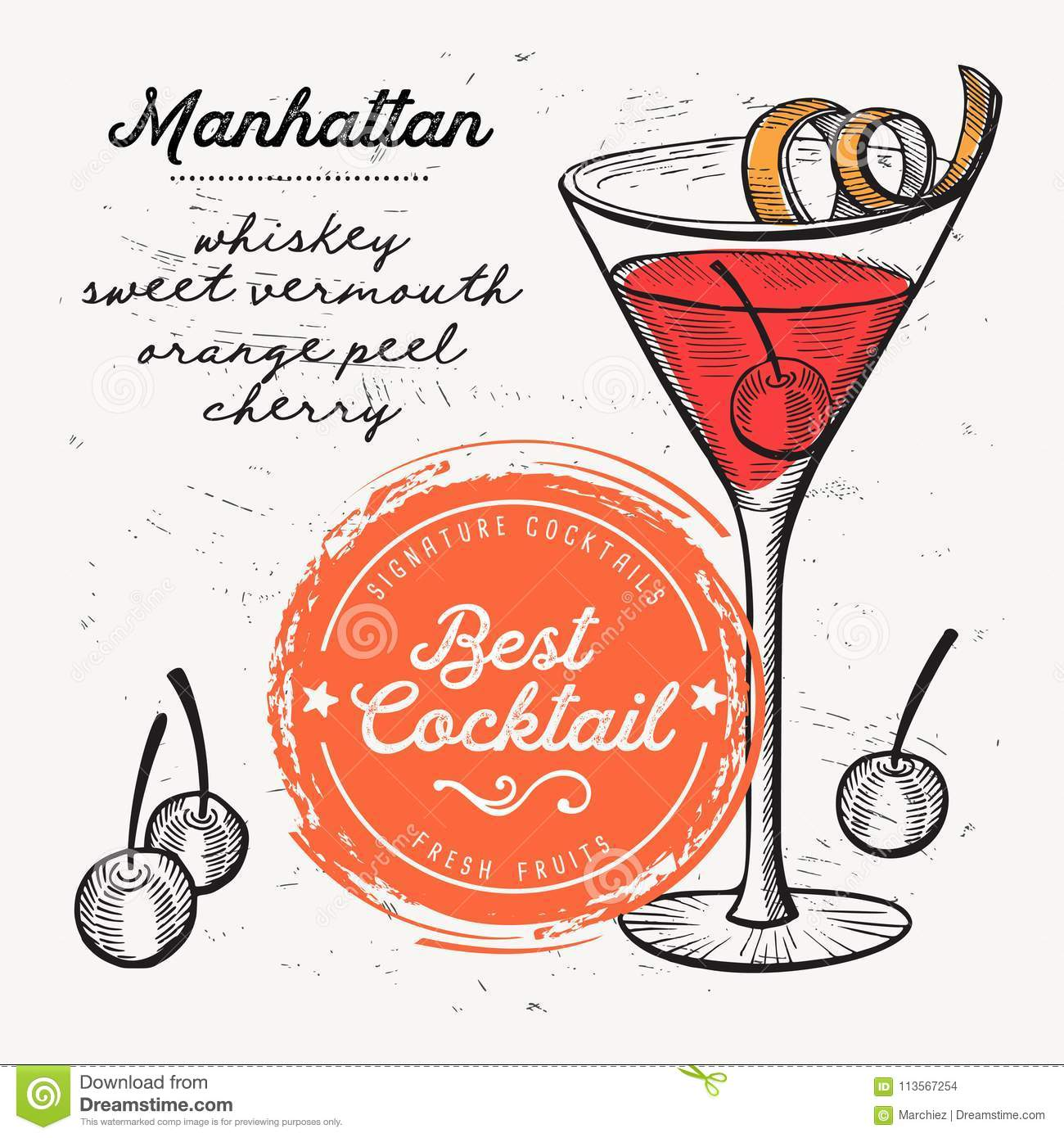 Cocktail Manhattan Drink Flyer For Bar Stock Vector Illustration Of Alcohol Invite 113567254