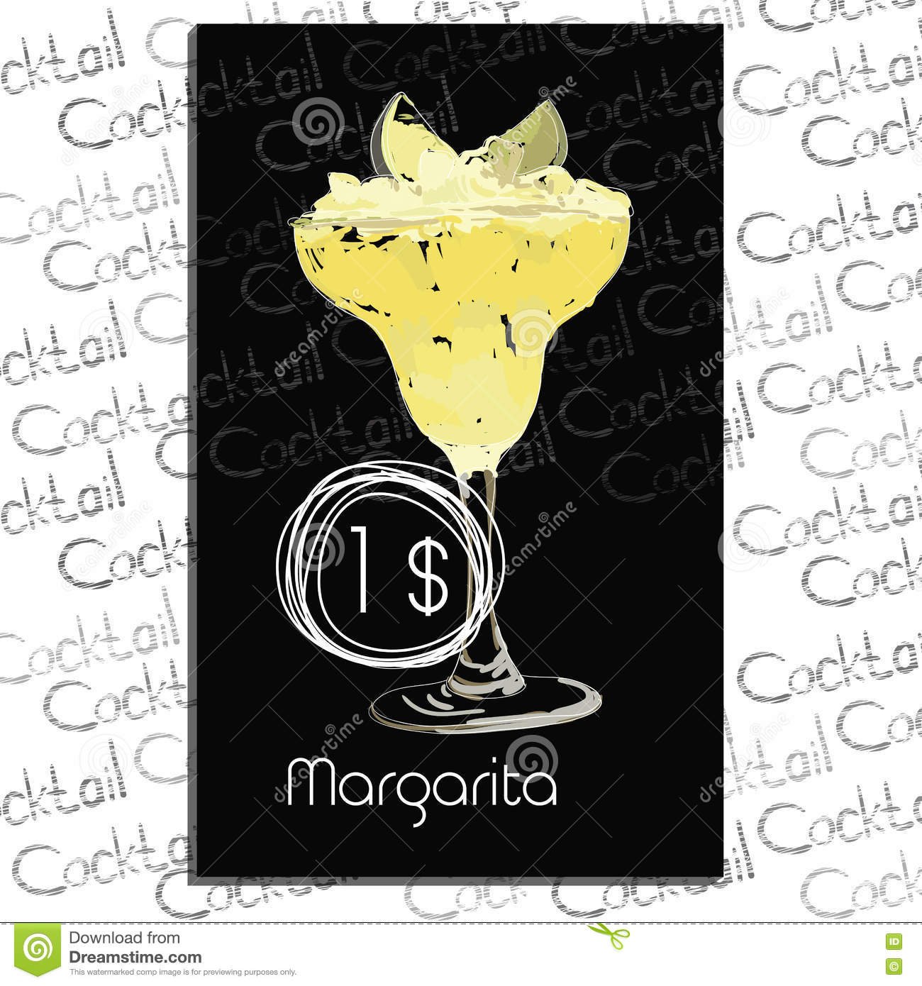Cocktail Margarita with price on chalk board. Template elements for cocktail bar