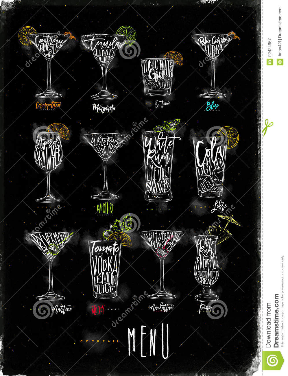 Cocktail Menu Color Graphic Chalk Stock Illustration - Illustration ...