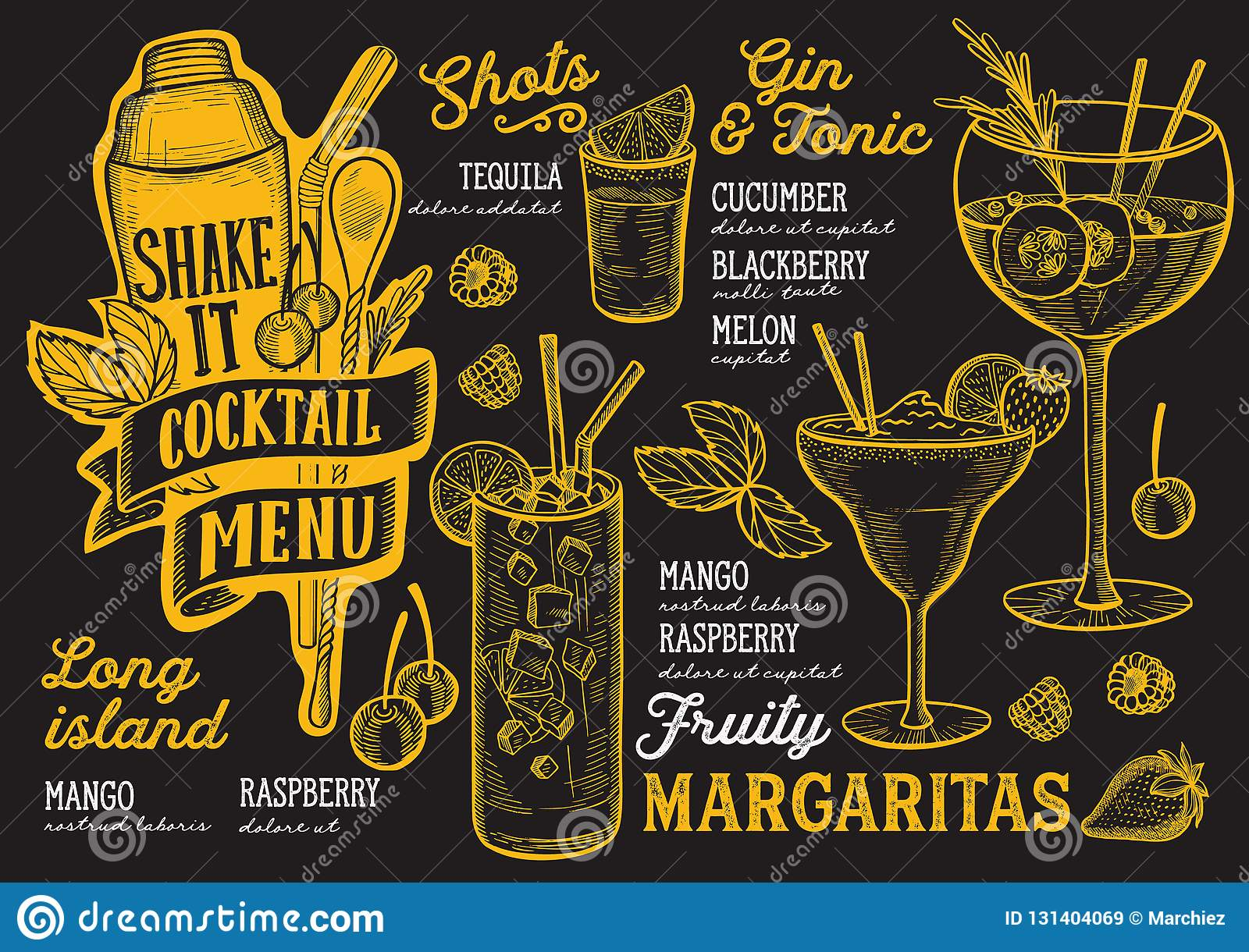 Cocktail Menu Template For Restaurant On A Blackboard Background Vector Illustration Brochure For Food And Drink Bar Design Stock Vector Illustration Of Mary Blackboard 131404069