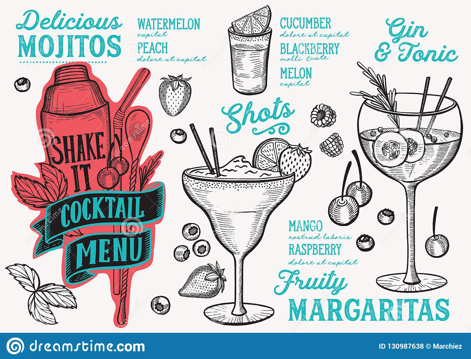 Cocktail Drink Menu Template For Restaurant With Doodle Hand Drawn Graphic Stock Vector Illustration Of Placemat Gourmet 130987638