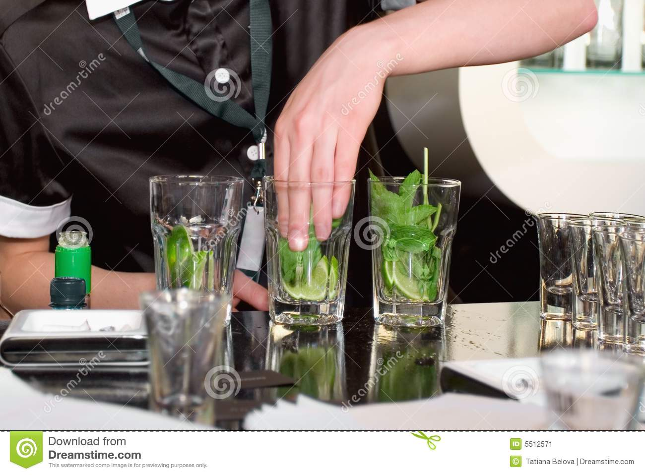 Cocktail mojito preparation stock image image 5512571 for Cocktail preparation