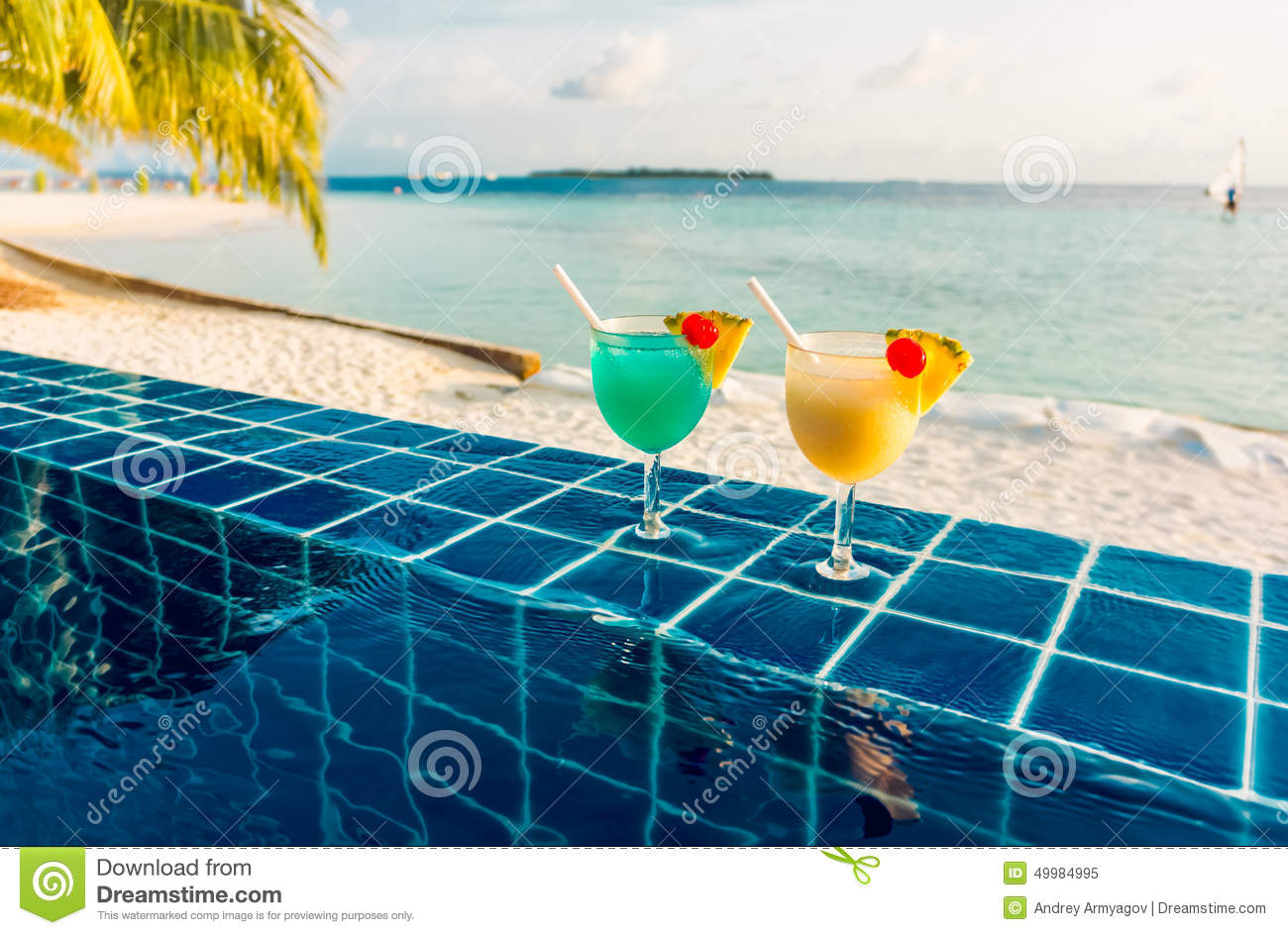 Cocktail Near The Swimming Pool Stock Photo Image 49984995