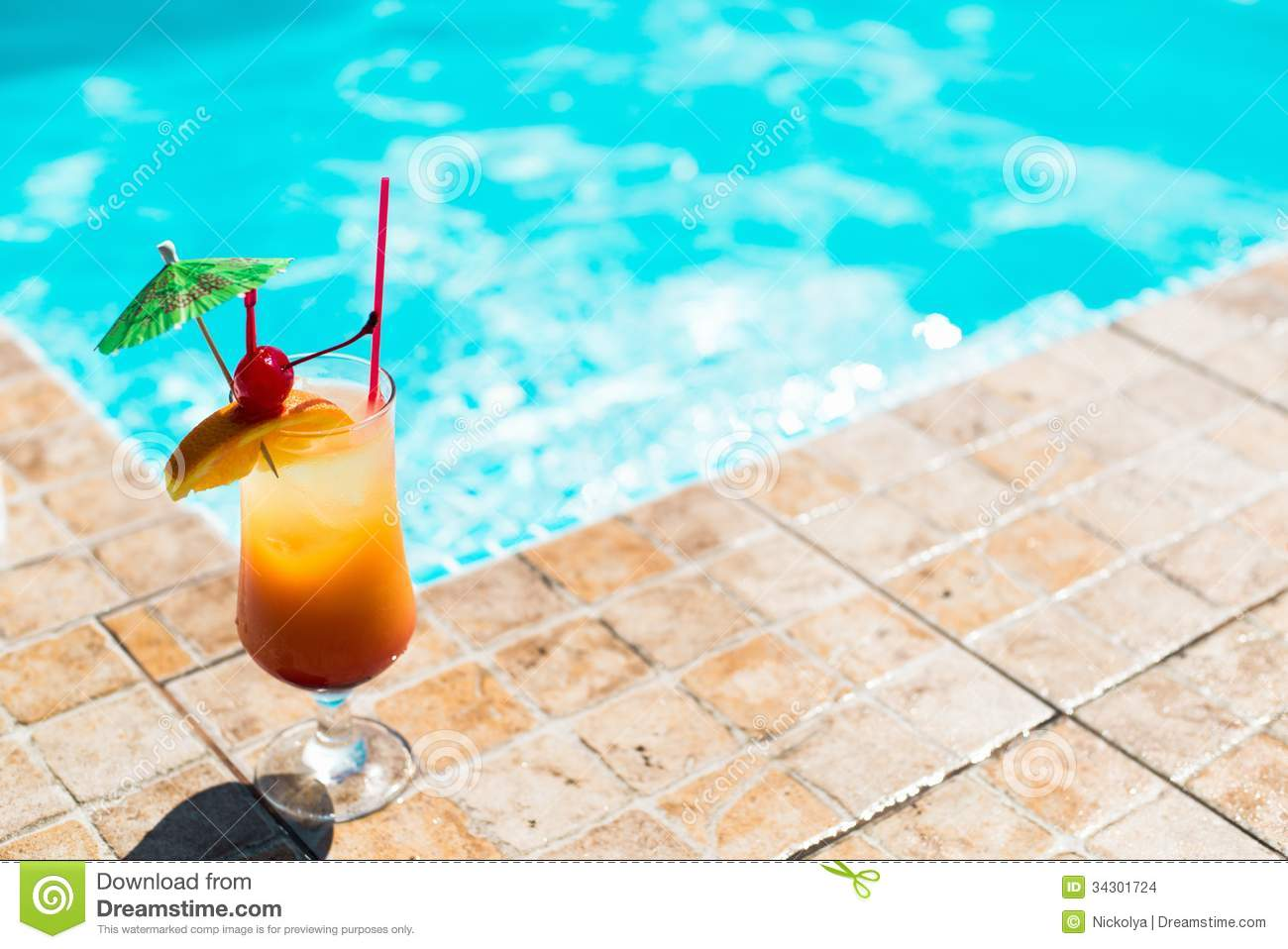 Cocktail Near The Swimming Pool Stock Photo Image Of Atoll Drinks 34301724