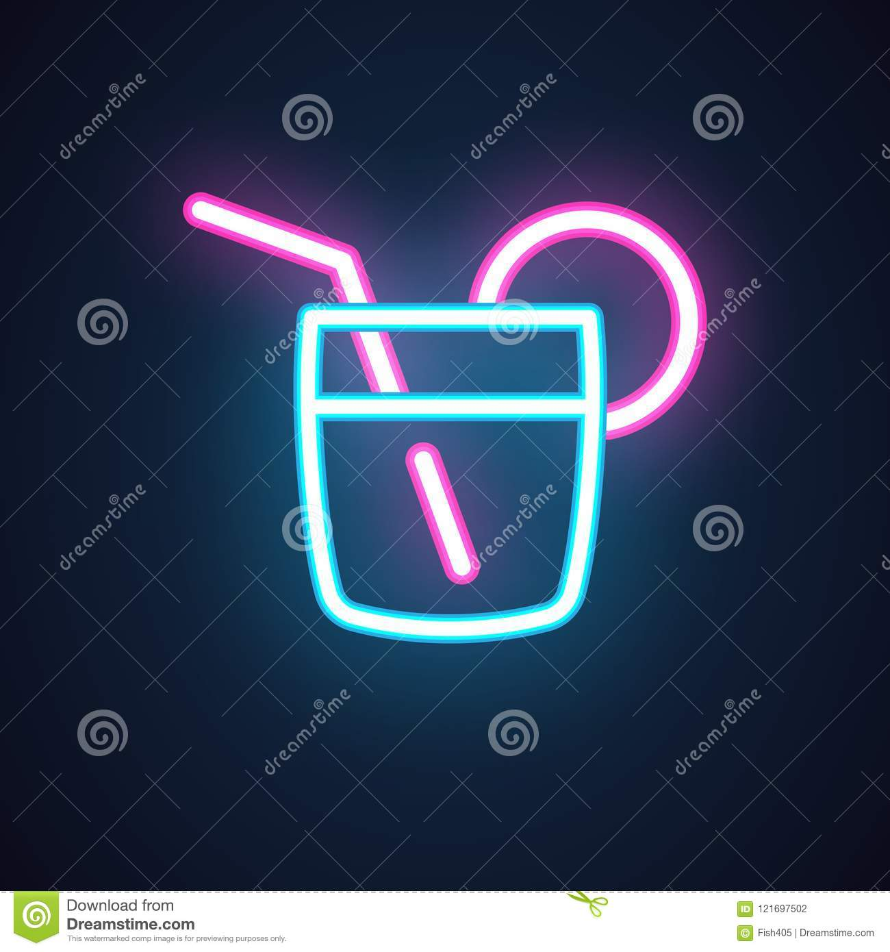 Cocktail Neon Icon Drink In Glass With Straw Alcohol Shot Illuminated Label For Parties Event Bar Restaurant Cafe Stock Vector Illustration Of Holiday Motel 121697502