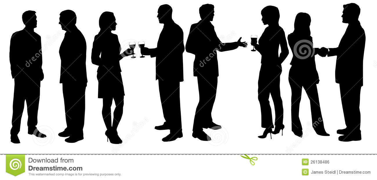 Silloittes of men and women holding drinks at cocktail party on white ...