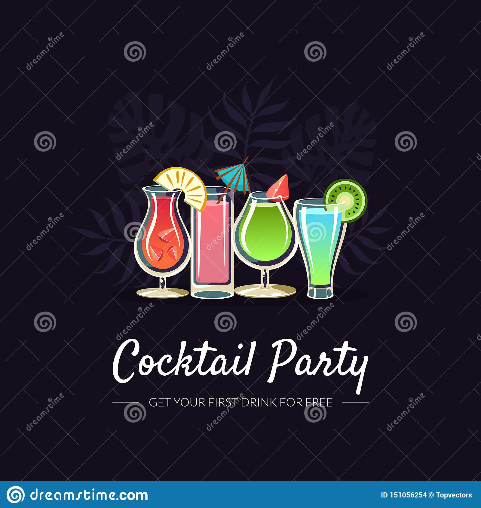 Cocktail Party Banner Template Bar Restaurant Cafe Party
