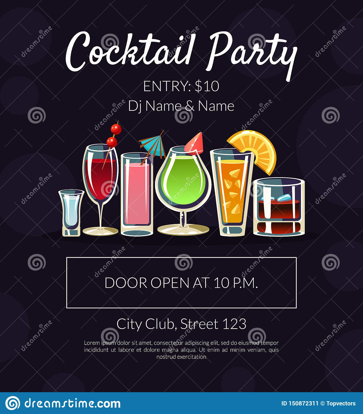 Cocktail Party Banner Template With Place For Text Bar