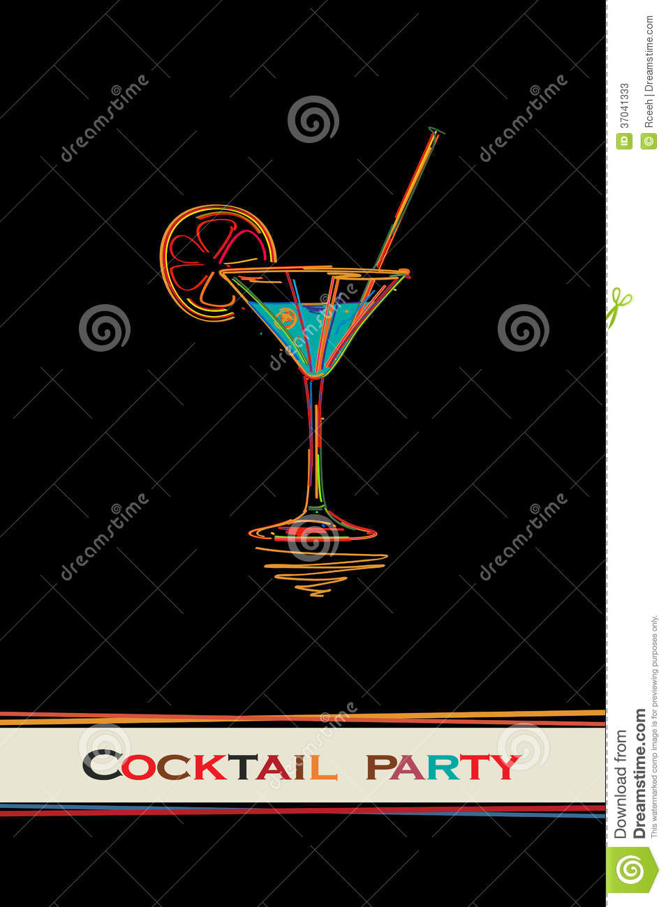 cocktail party card stock vector illustration of logo 37041333