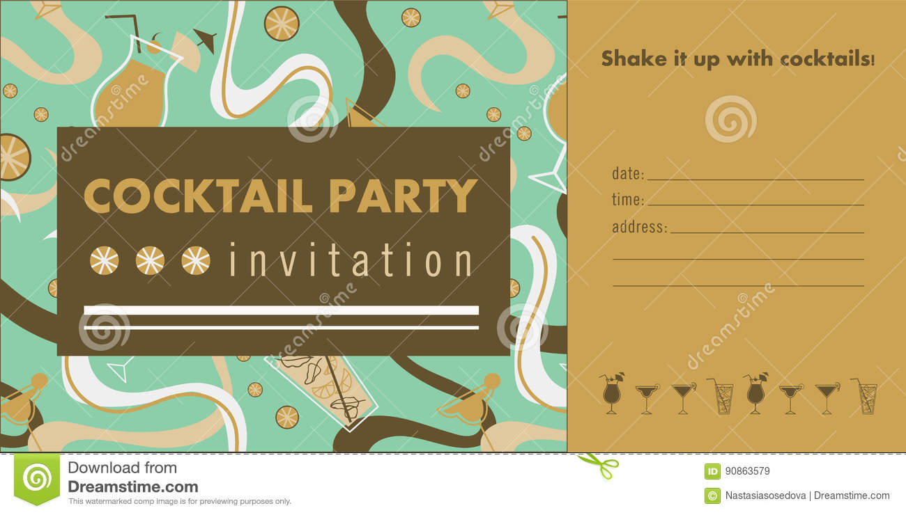 Cocktail Party Horizontal Invitation Card Template With Cocktails