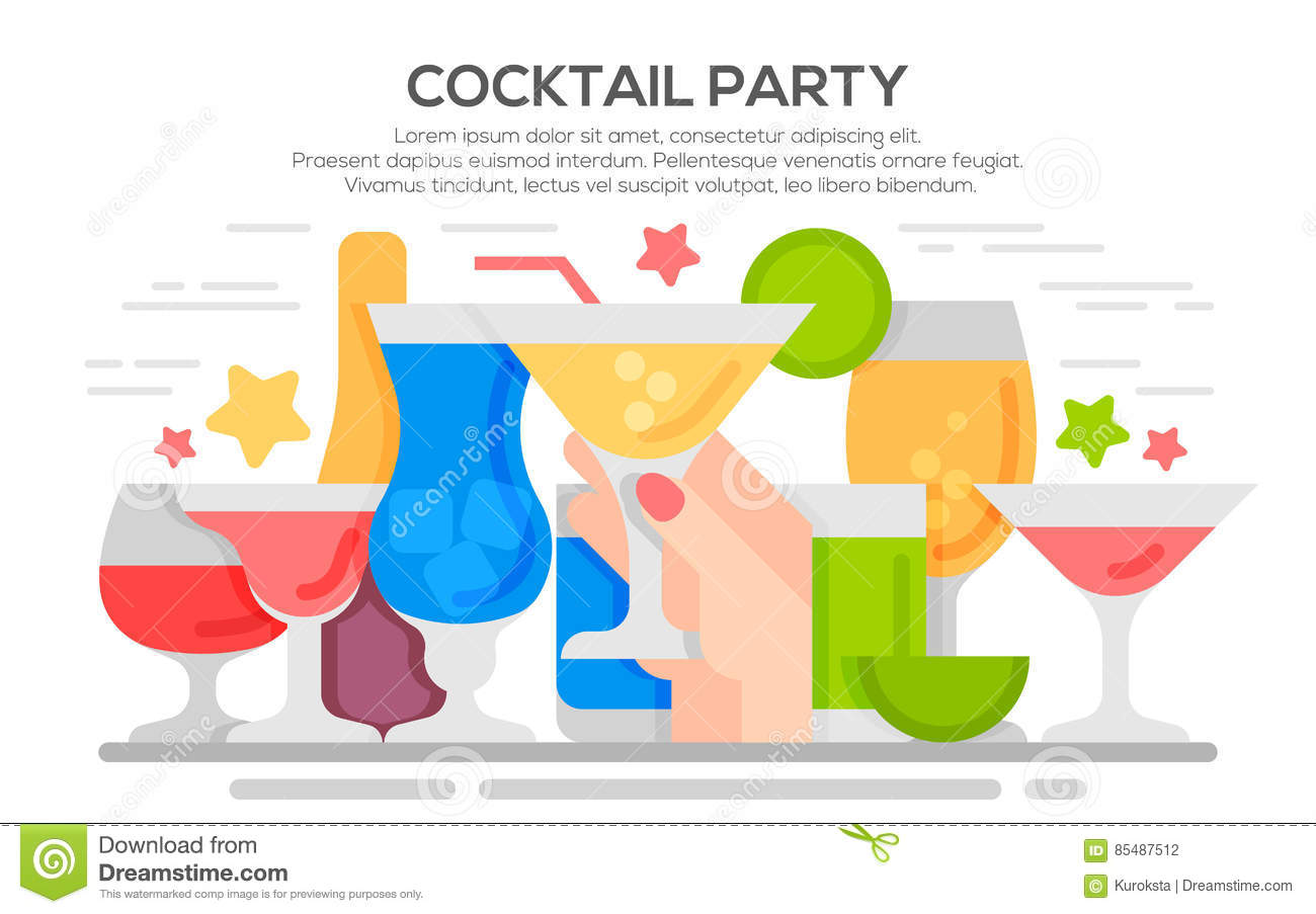 Cocktail Party Invitation Concept Template Stock Vector ...