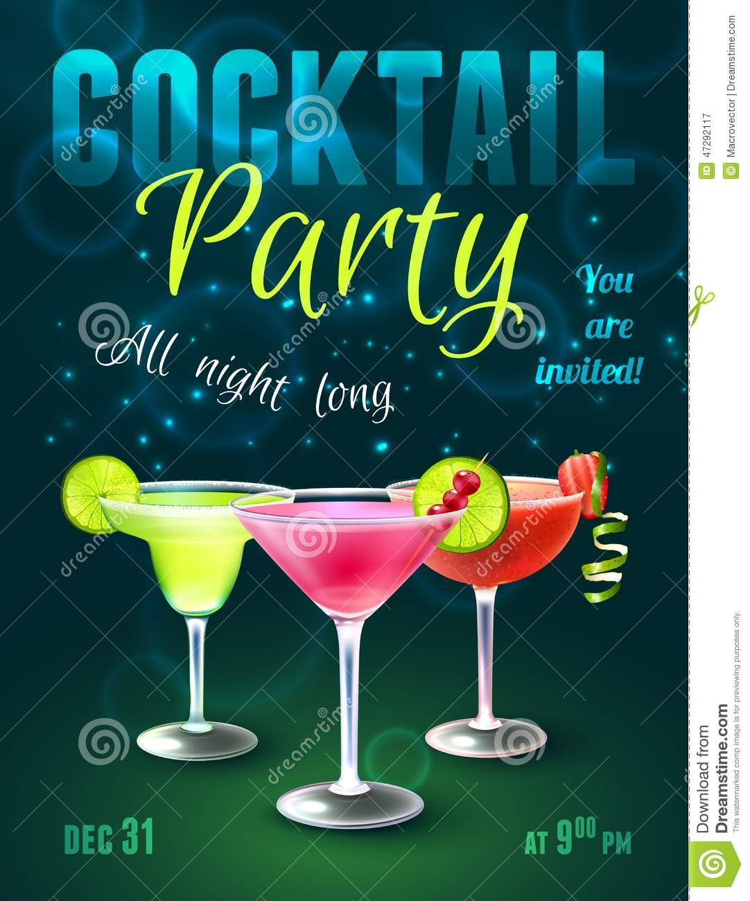 cocktail party poster stock vector illustration of design 47292117. Black Bedroom Furniture Sets. Home Design Ideas
