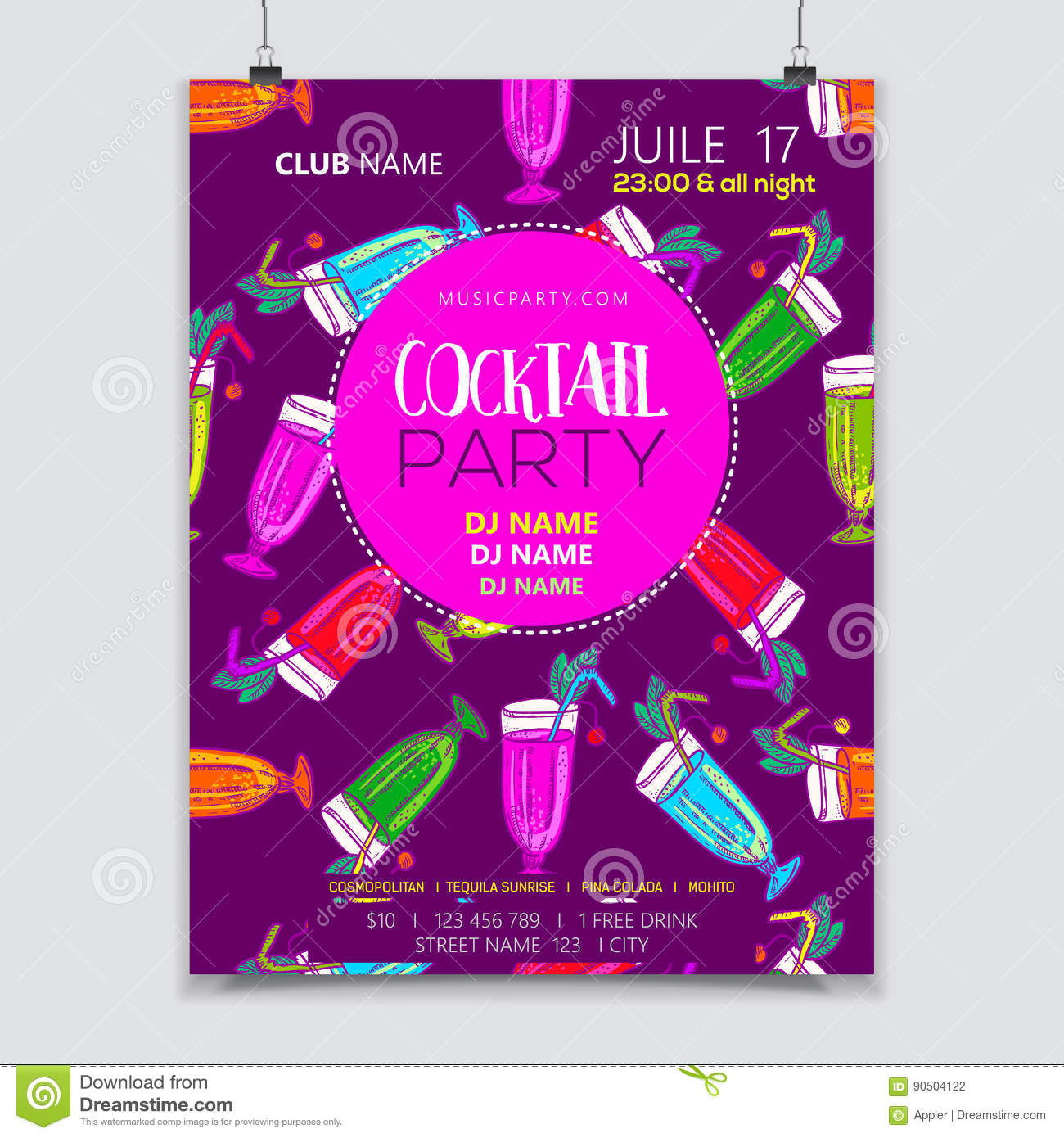 cocktail party poster stock vector  illustration of background