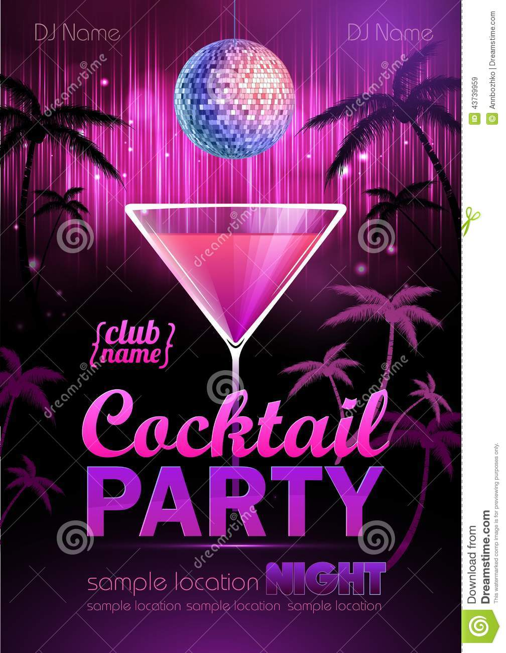 cocktail party poster stock vector image of audio party 43739959. Black Bedroom Furniture Sets. Home Design Ideas