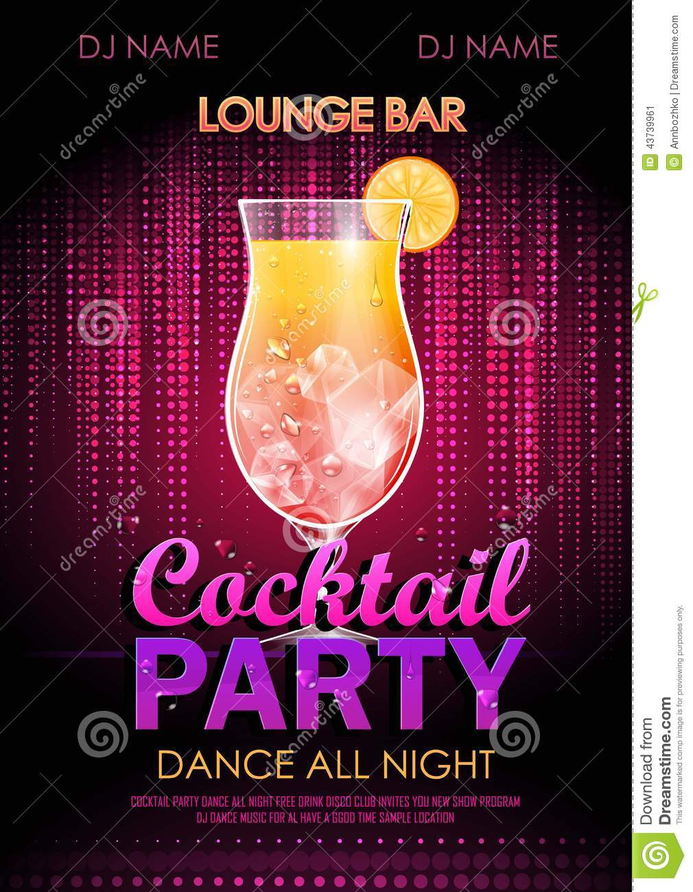 cocktail party poster stock vector image of club cosmopolitan 43739961. Black Bedroom Furniture Sets. Home Design Ideas