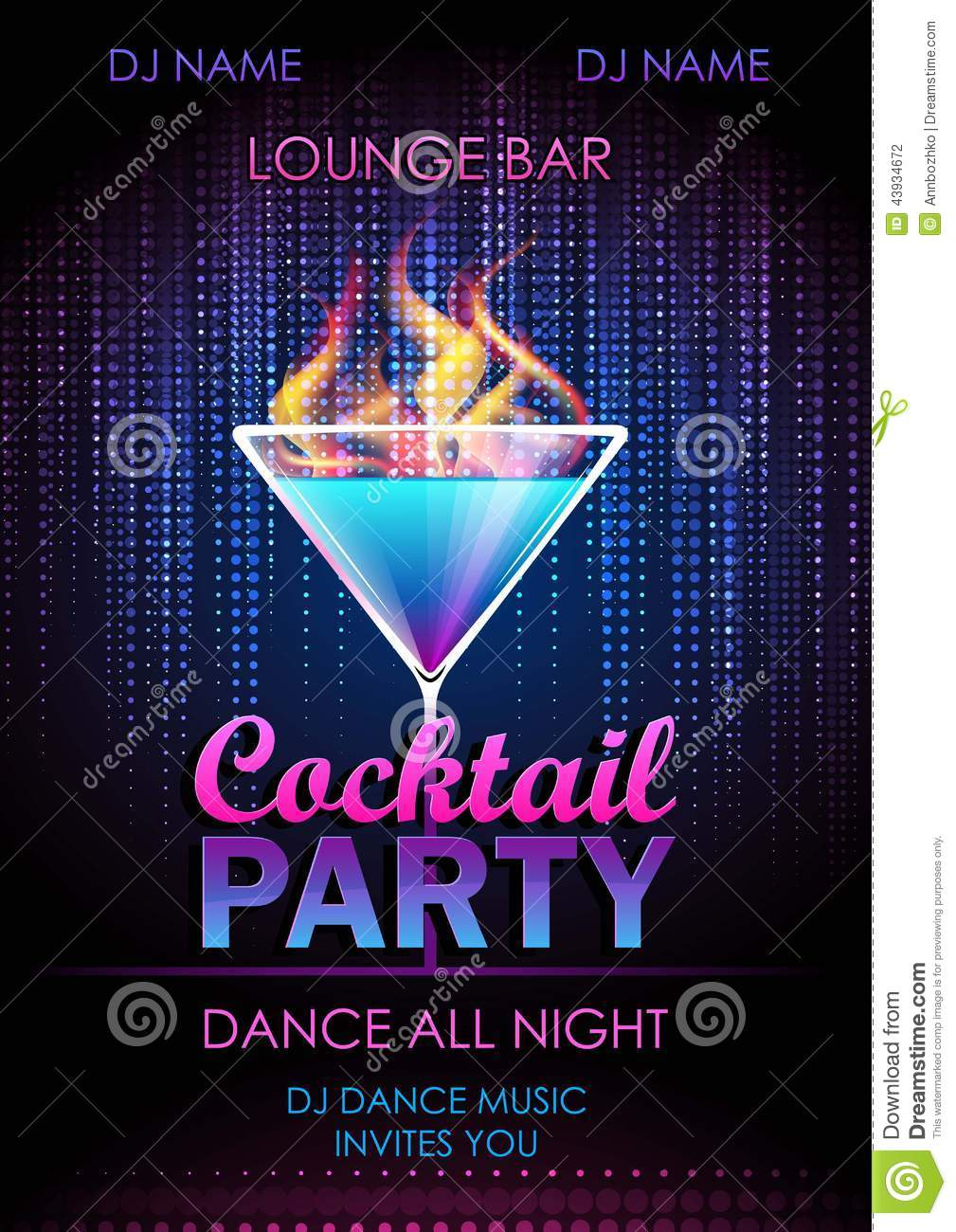 cocktail party poster stock vector  illustration of music