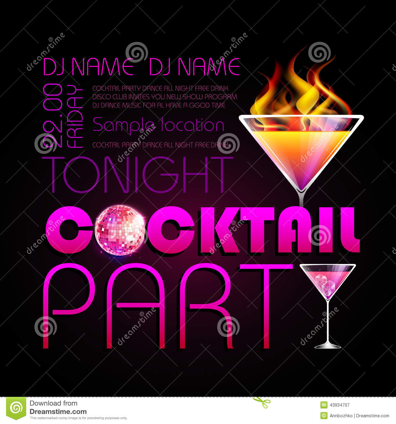 cocktail party poster stock vector image 43934707. Black Bedroom Furniture Sets. Home Design Ideas