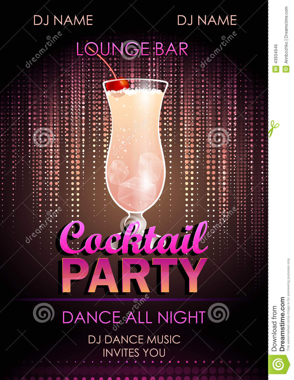 cocktail party poster stock vector  illustration of glass
