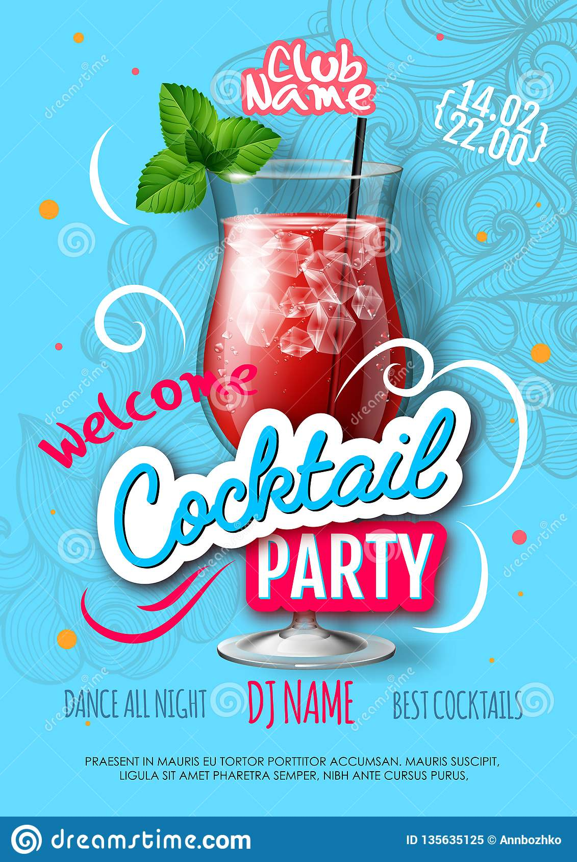 cocktail party poster in eclectic modern style  stock vector