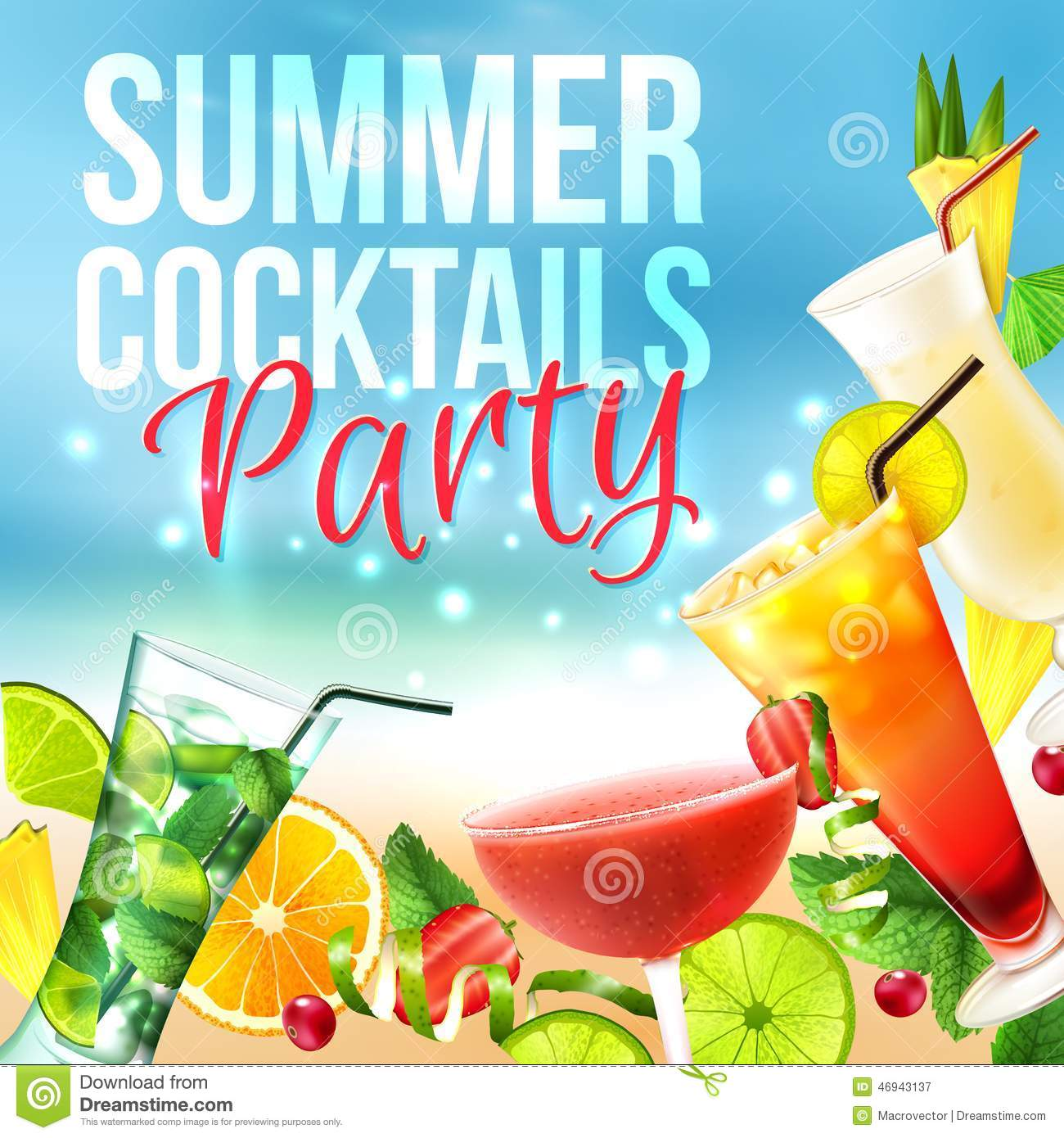 Cocktail party poster stock vector illustration of juice for Summer drinks for party