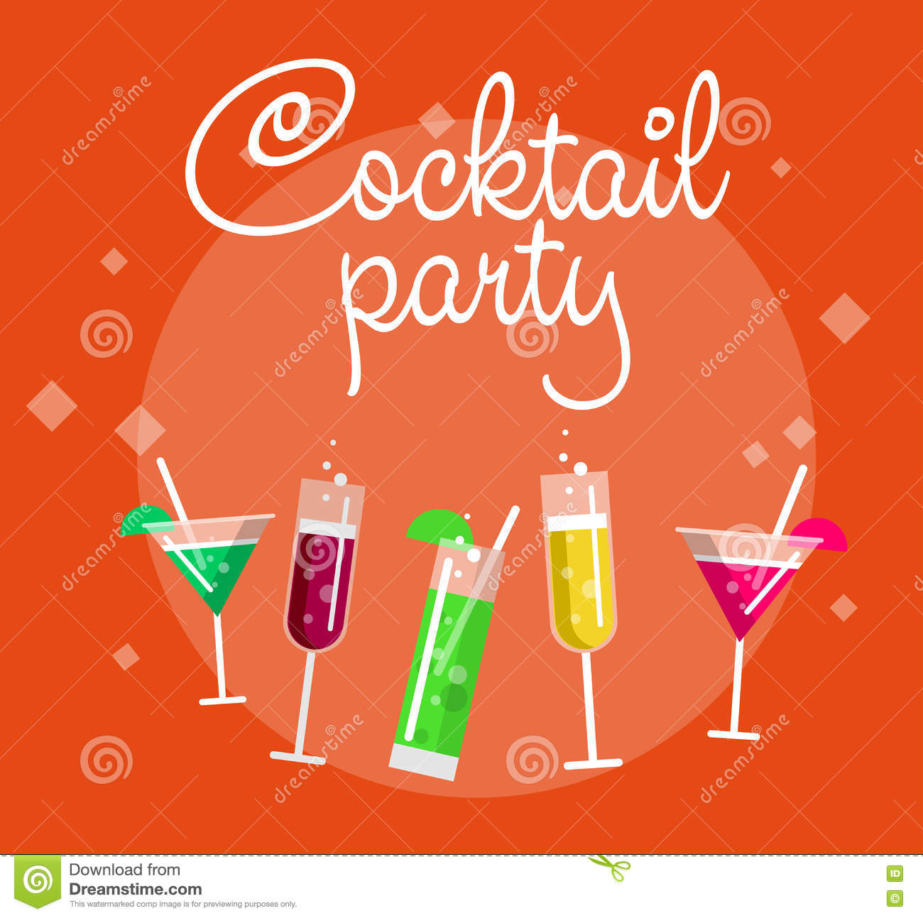 Cocktail party summer poster with alcohol drinks in for Summer drinks for party