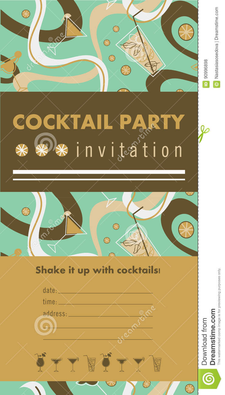 Cocktail Party Vertical Invitation Card Stock Vector