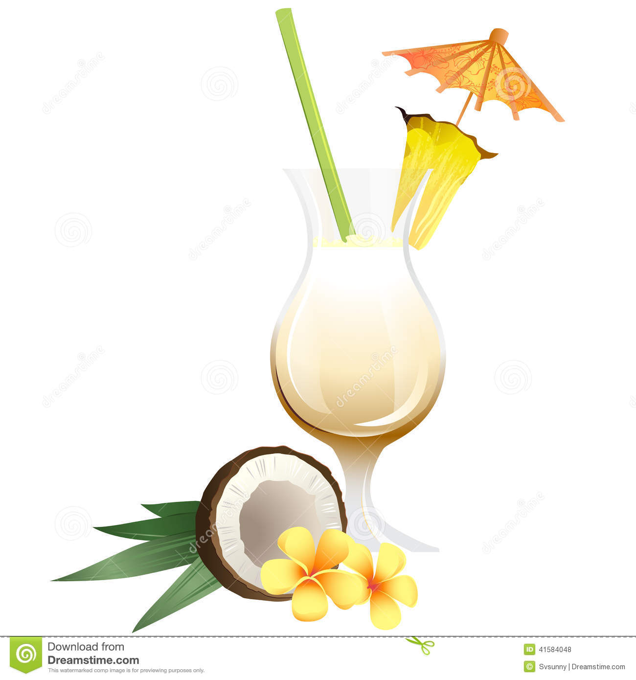 Cocktail Pina Colada With Garnish Stock Vector - Image: 41584048