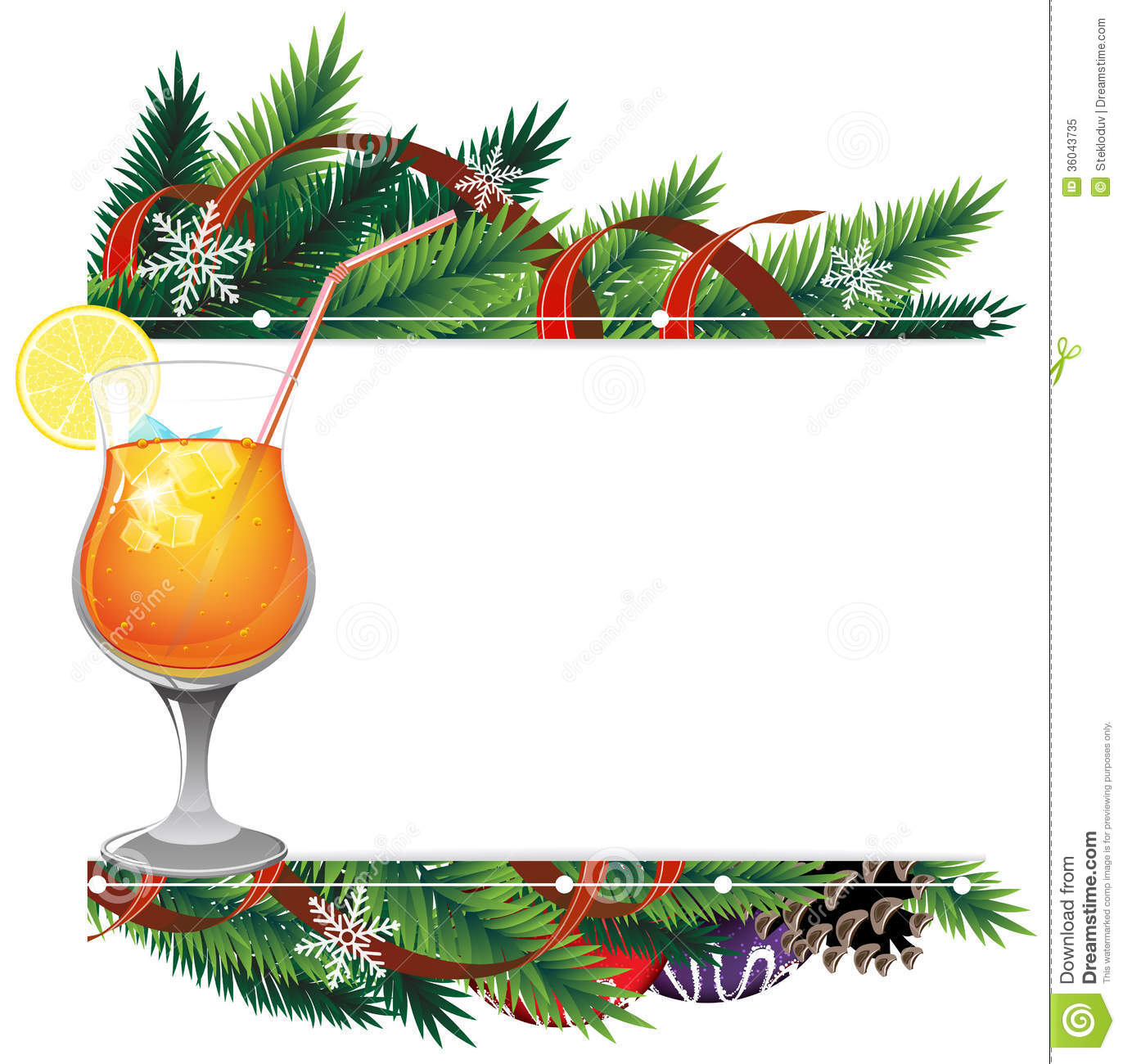 Orange And Lemon Christmas Tree Decorations : Cocktail and pine branches royalty free stock photo