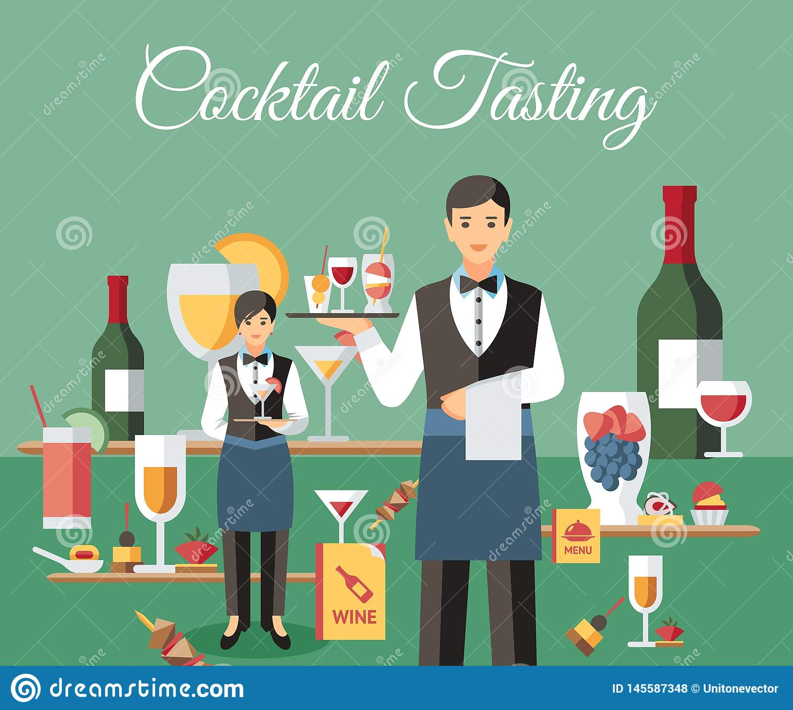 Cocktail-Probieren-Fahnen-flache Vektor-Illustration