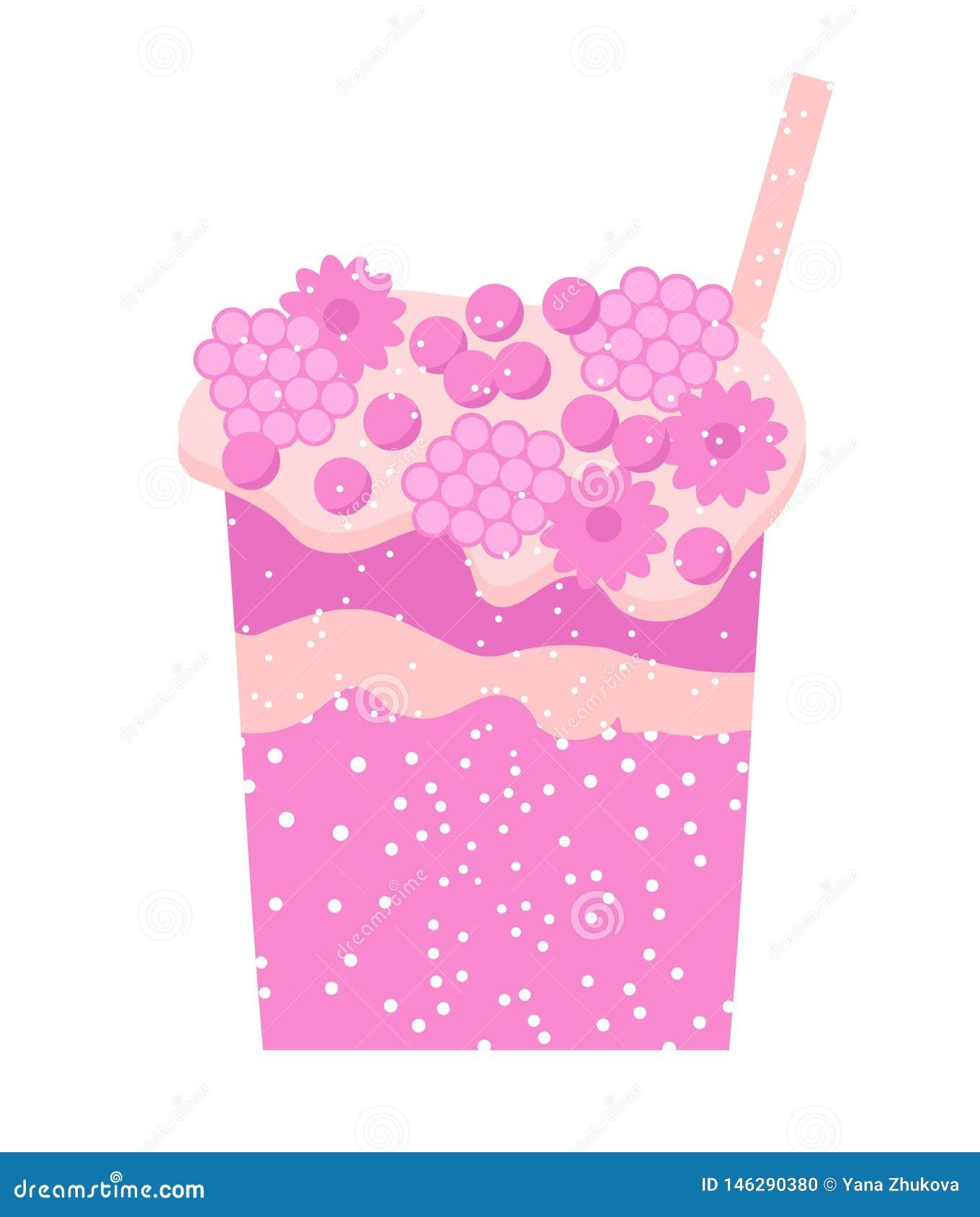 Cocktail rose sur le cocktail frais de jus de secousse de boissons blanches de fond Myrtille, cerise, fraise, boissons de groseil