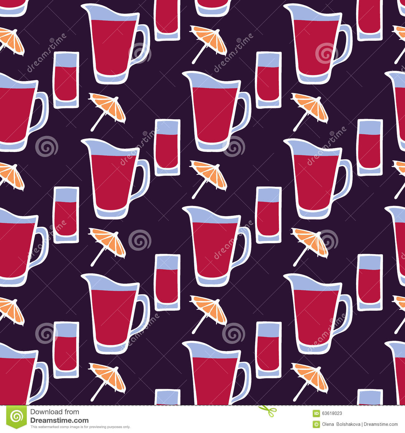Cocktail. Seamless pattern with glass, umbrella