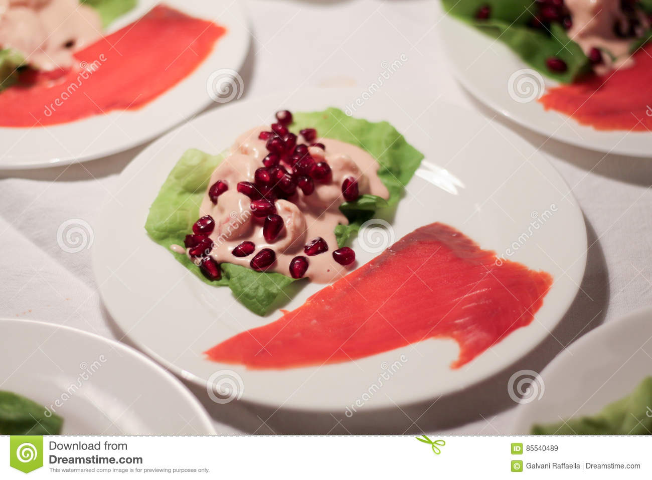 Cocktail Of Shrimp To Pomegranate And Wild Smoked Salmon Stock Image Image Of Nutrition Sauce 85540489