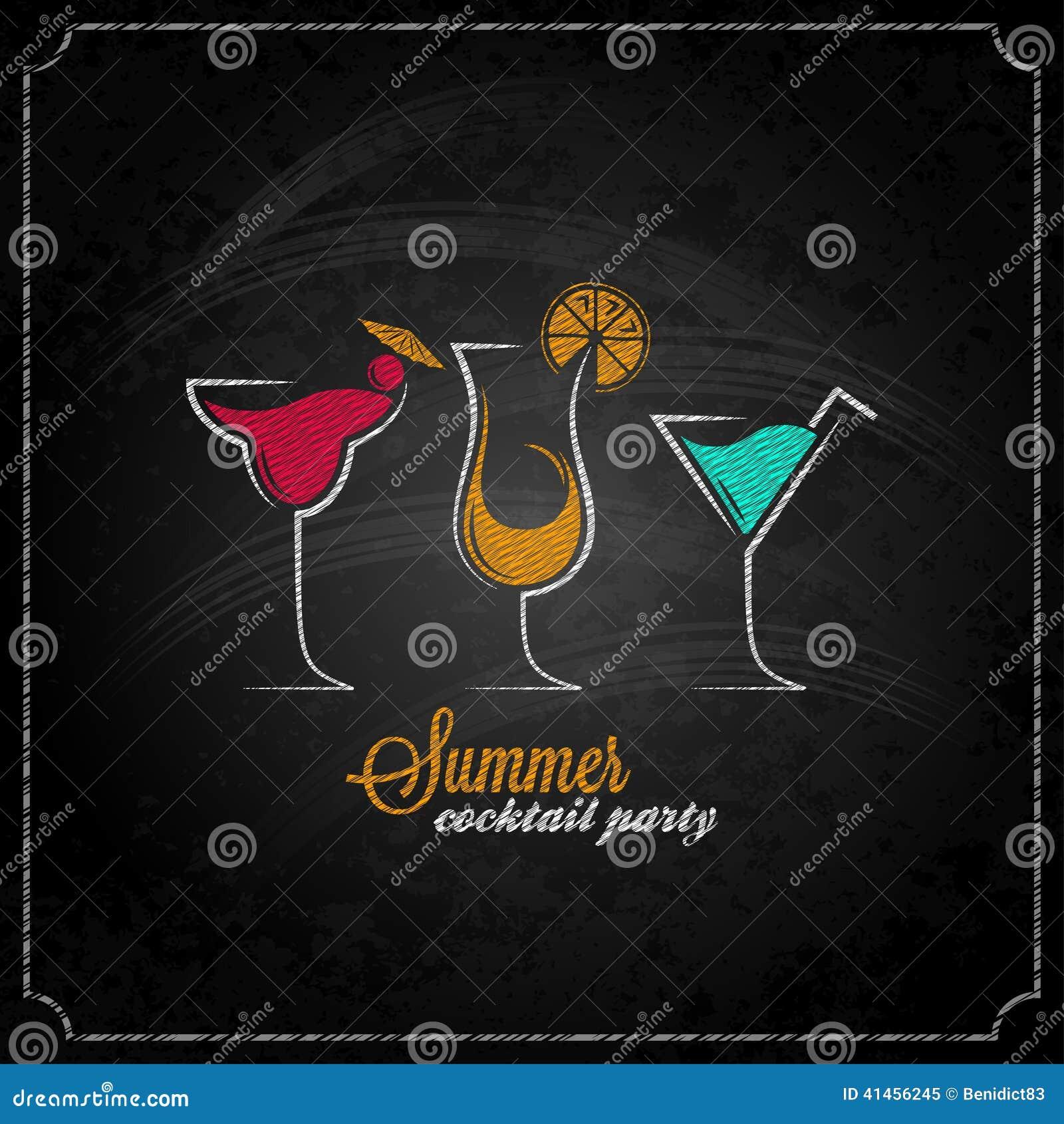 Cocktail Summer Party Chalk Design Menu Background Stock