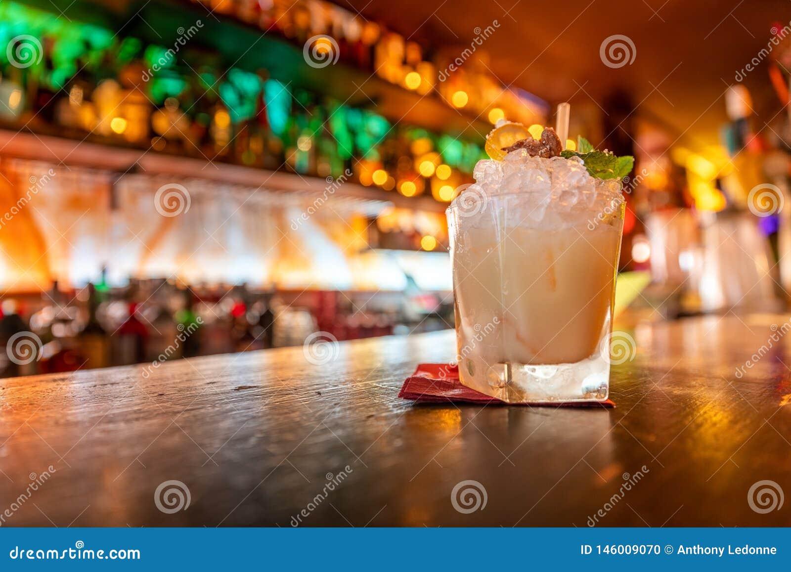 A Cocktail in a Tiki Bar in Paris, France