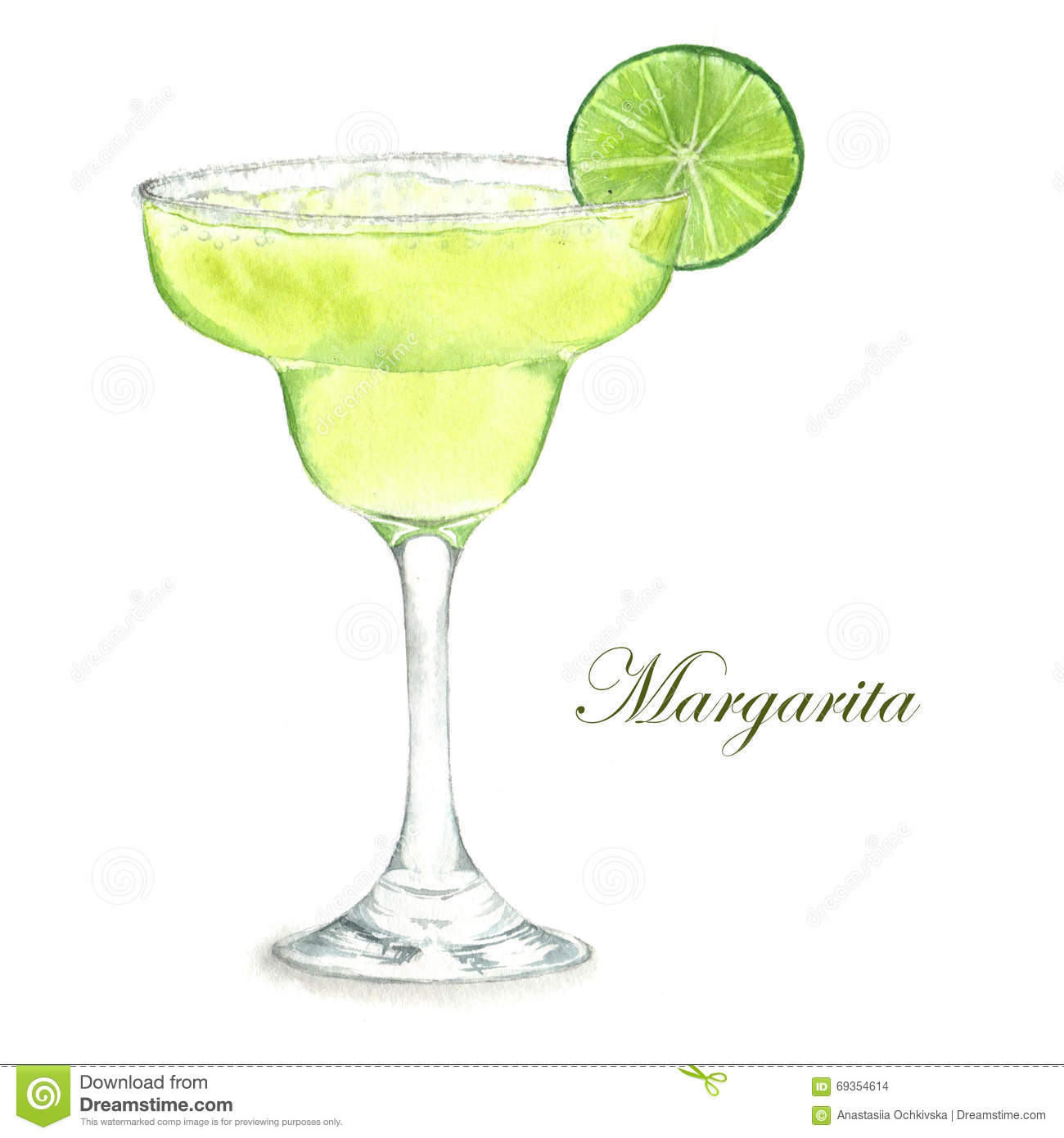 Cocktail watercolor illustration stock illustration for Cocktail margarita