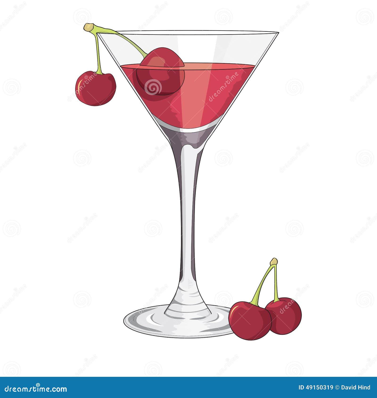 cocktailglas mit kirschillustration stock abbildung