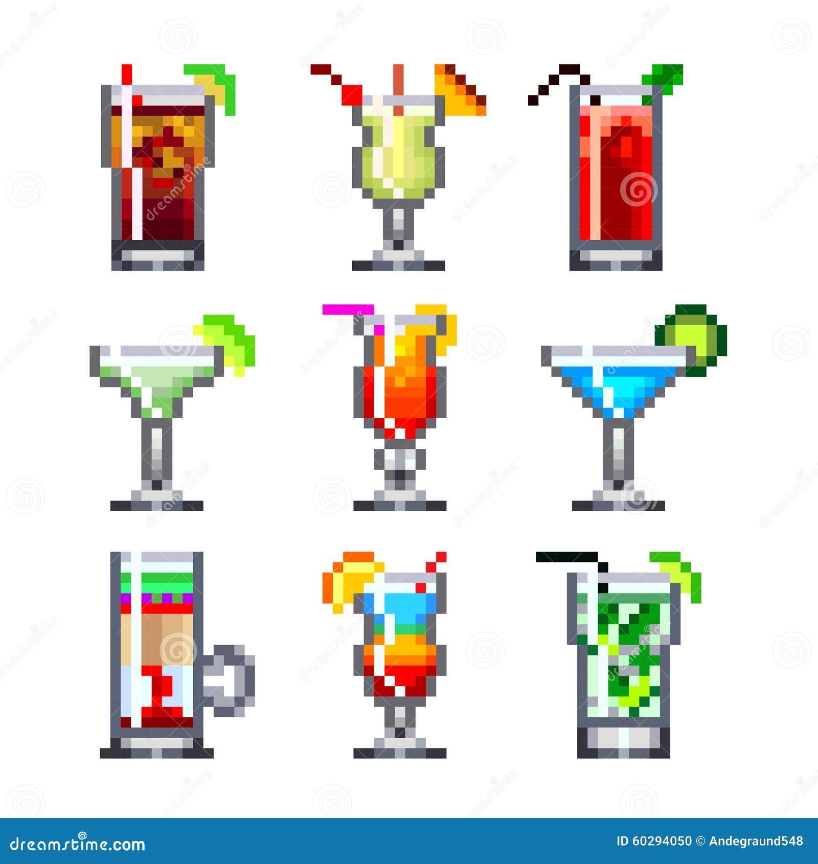 Cocktails de pixel pour l ensemble de vecteur d icônes de jeux