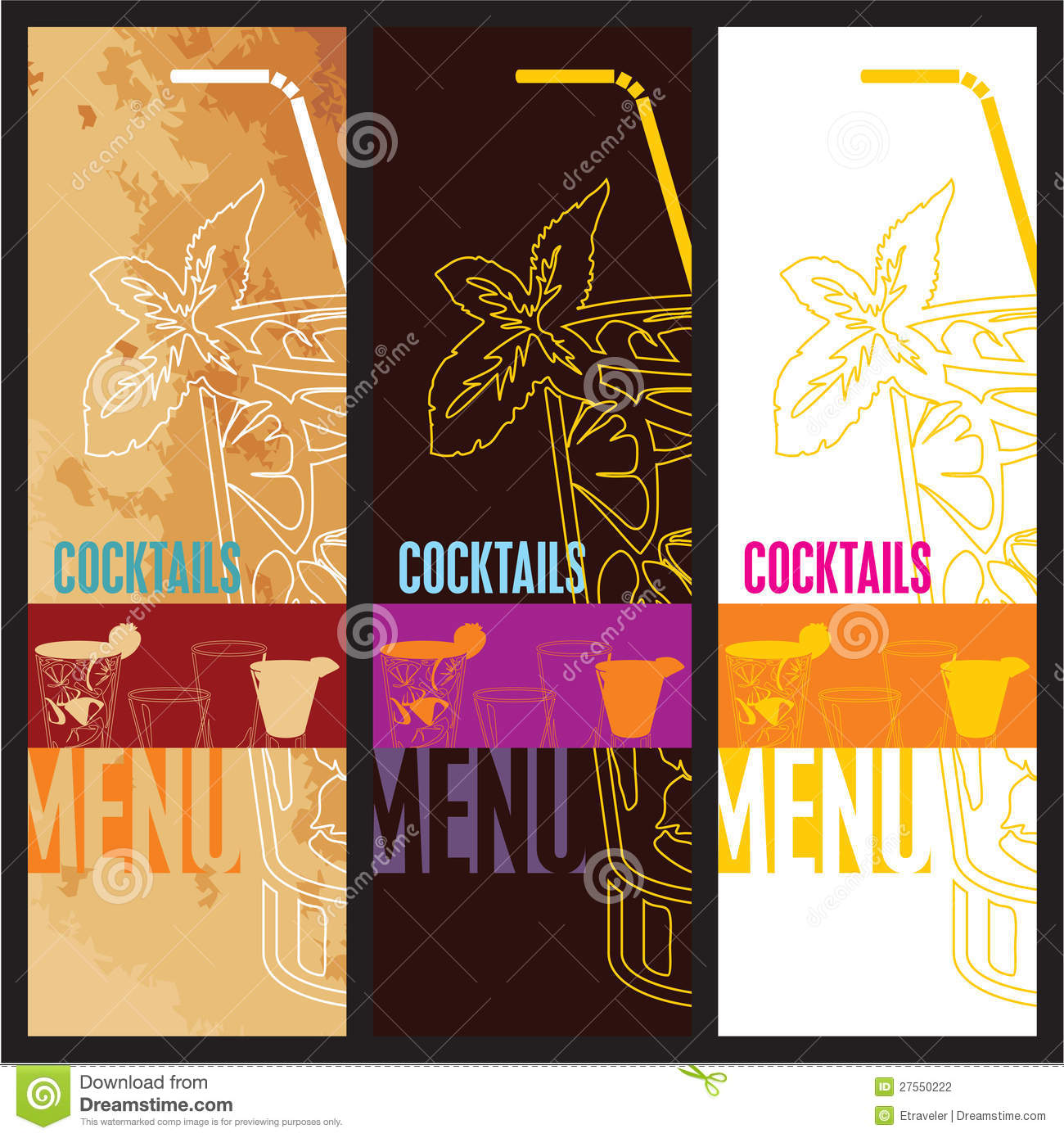 Cocktails Menu Card Design Template Stock Photography Image