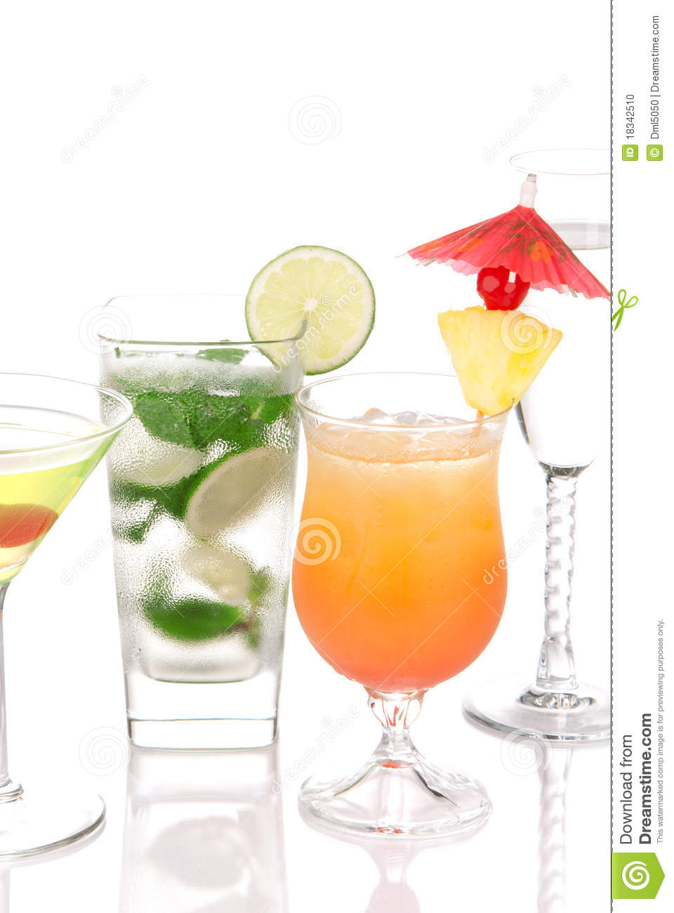 Cocktails Mojito;Martini, Tequila Sunrise Stock Photo ...