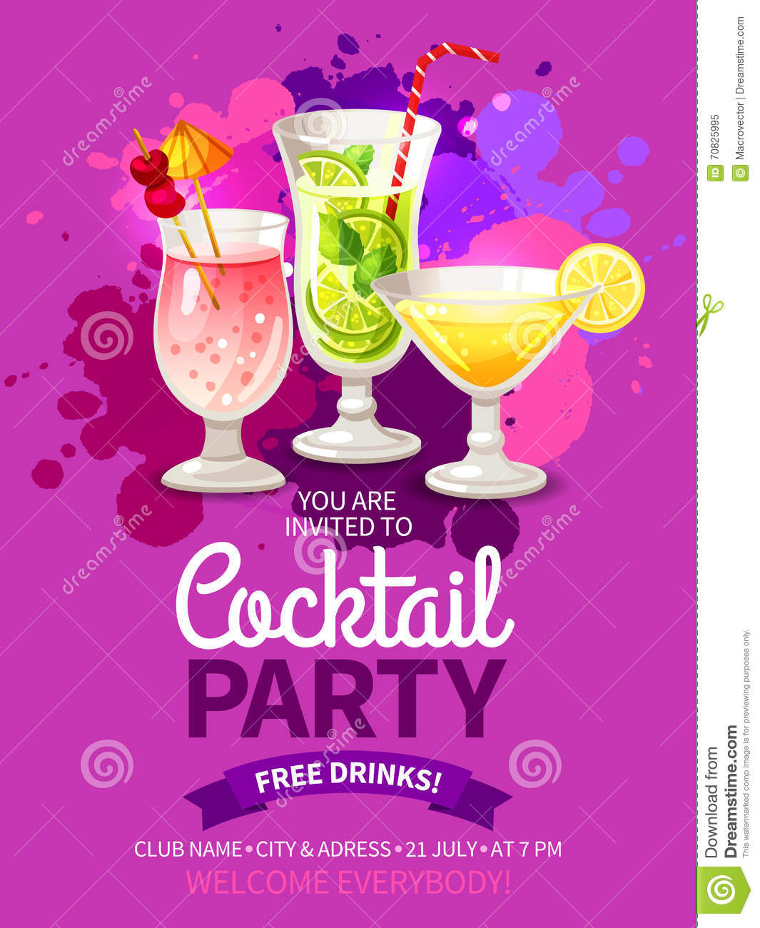 cocktails party flyers stock vector image of holiday 70825995. Black Bedroom Furniture Sets. Home Design Ideas