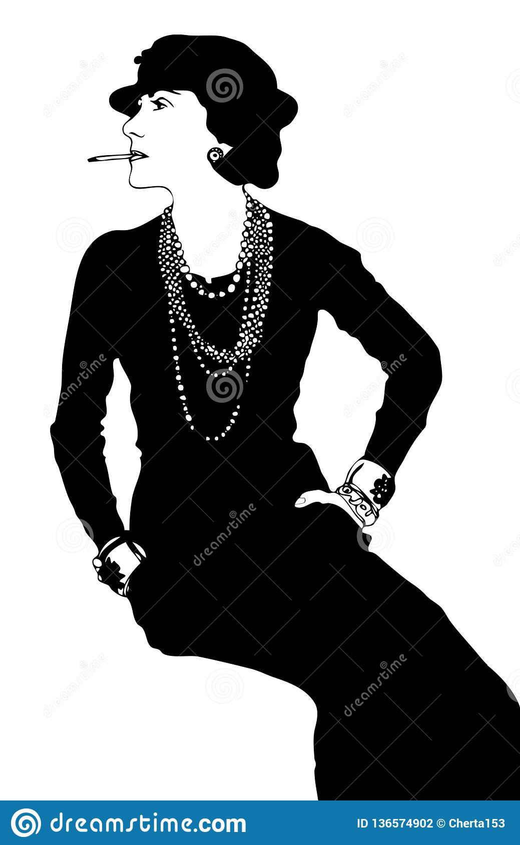 d5c3973ec20b Coco Chanel vector stylization. Coco style shannel. Black and white. More  similar stock illustrations