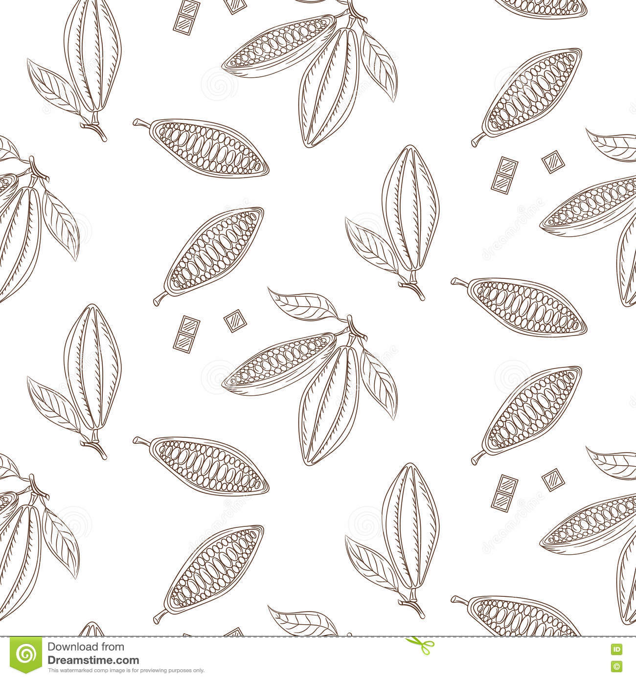 Cocoa Beans Outline Seamless Pattern  Chocolate Monochrome