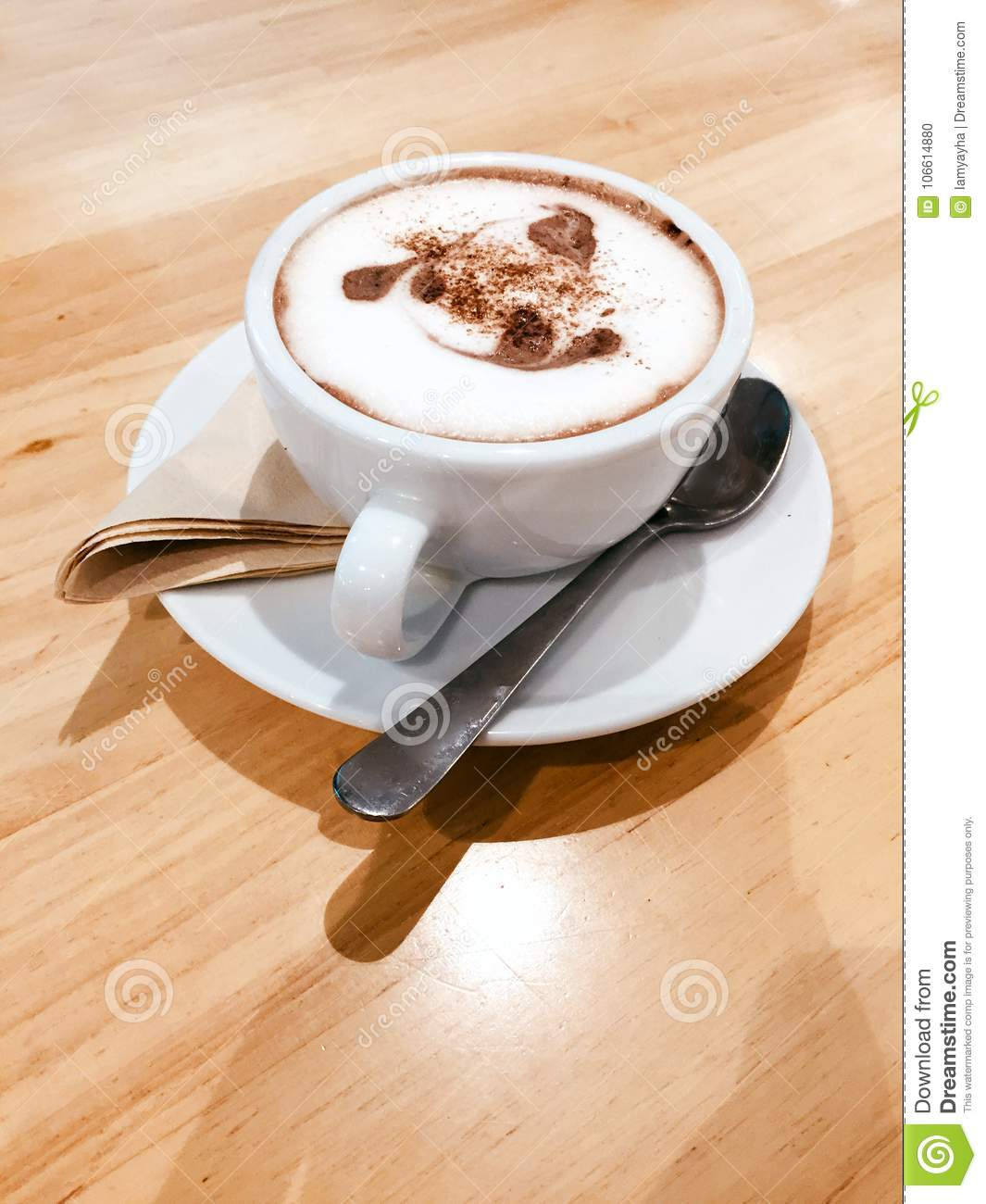 Cocoa Drink In White Cup Isolated Cup With Hot Chocolate On