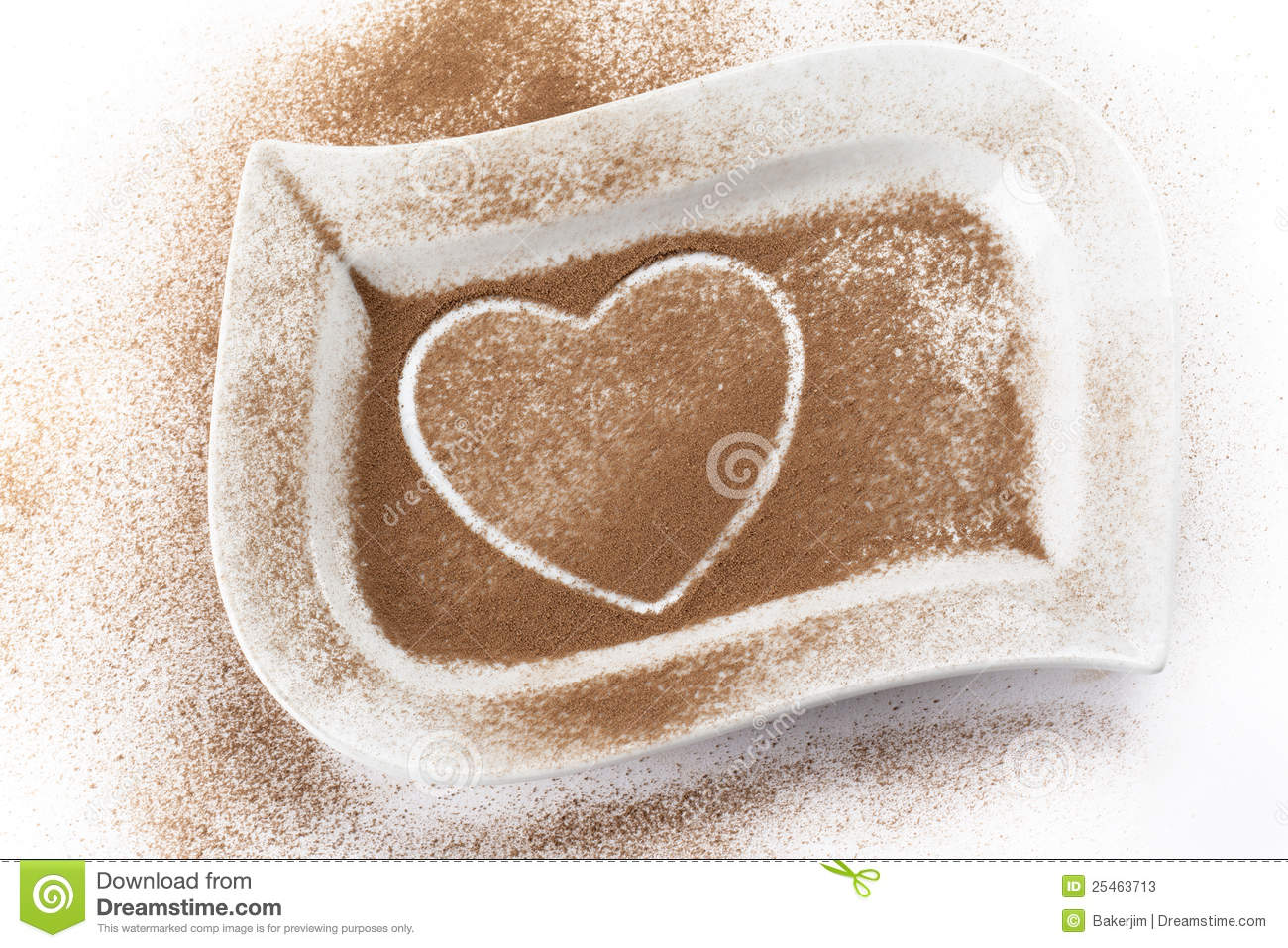 cocoa powder with heart shape trace stock photos image 25463713