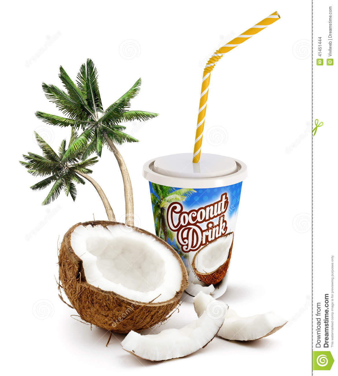Coconut Beverage Stock Illustration Image 41451444